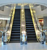 pic of escalator  - Shop escalator in shopping center - JPG