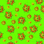 Traditional Handmade Folk Seamless Floral Background With Orange Flowers