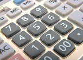 Close view of a calculator keypad