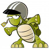 funny cartoon turtle with helmet