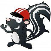 funny cartoon skunk with helmet