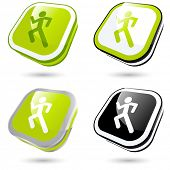 modern running man sign collection in 3D