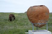 big clay pot/pipkin at an open-air museum and two donkeys