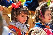 spanish children in fiesta - moors and christians