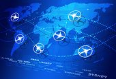 stock photo of transcontinental  - abstract concept world aviation directions blue business background - JPG