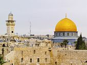 foto of israel israeli jew jewish  - Wailing Wall and Al Aqsa Mosque in Jerusalem Israel - JPG