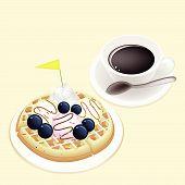 Hot Coffee With Waffle And Ice Cream