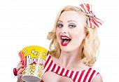 Retro Girl Taking Popcorn To Cinema