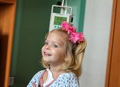 stock photo of intravenous  - Recovering Little baby girl hospitalized with a Intravenous bag on a pole - JPG