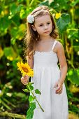 Young Girl With Sunflower