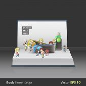 Kids Playing Around Several Pendrives On Book. Vector Design
