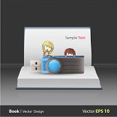 Hfdskids Holding Blue Pendrive On Book. Vector Design