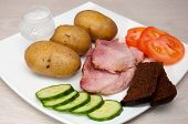 Grilled Pork With Vodka, Boled Potato, Vegetables And Bread