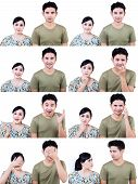 Asian Couple Multi Expression Isolated On White