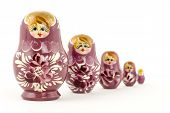 Five Pink Russian Matryoska Dolls