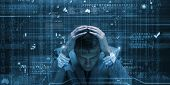 image of virus scan  - Conceptual image of troubled man against media screen with binary code - JPG