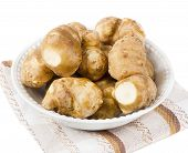 pic of jerusalem artichokes  - Jerusalem Artichoke in a white bowl  - JPG
