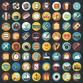 stock photo of strip  - Set of 64 Flat Quality Travel Map Icons - JPG