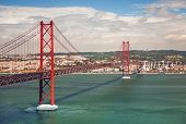 25th of April Suspension Bridge over the Tagus river in Lisbon, Portugal, Eutope
