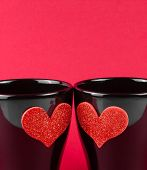 Valentine Day Series, Detail Of Cups Of Milk With Decorative Heart On Red Background