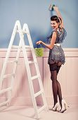 Beauty Pinup Girl Painting On The Wall