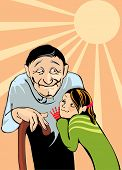 image of niece  - grandfather and niece - JPG