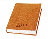 2014 Diary Book Isolate On White Background.
