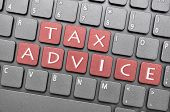 Tax advice key on keyboard