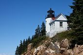 BASS HARBOR-AUGUST 07: Bass Harbor Lighthouse overlooking Atlantic Ocean in Maine, USA on August 07,
