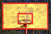 old basketball backboard and ring