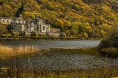 Famous Old Kylemore Abbey In Connemara Country Galway, Ireland