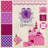 Scrapbook Design Elements - Princess Girl Birthday Set - in vector