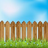 Wooden fence and grass.