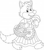 pic of fairy-mushroom  - Fox walking with a basket of mushrooms - JPG