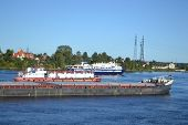 Cargo Ship On The Neva River