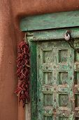 Santa Fe Door with Hanging Peppers