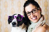 Funny Woman And Dog With Glasses Portrait