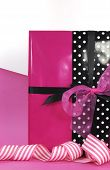 Modern Theme Valentine Or Birthday Gift Box With Hot Candy Pink And Black Polka Dot Theme Wrapping W