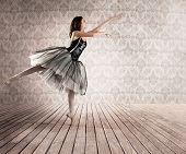 attractive ballerina on tiptoe in a vintage background