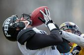 VIENNA,  AUSTRIA - MARCH 24 WR Dan Bala�?�?�?�¾ovi�?�?�?� (#17 Panthers) catches the ball