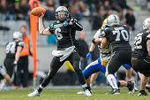 INNSBRUCK,  AUSTRIA - MARCH 23 QB Kyle Callahan (#6 Raiders) throws the ball during the AFL football