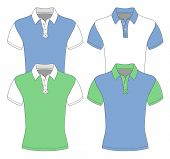 Men's short sleeve polo shirt design templates (front view). different color variants. Vector illust