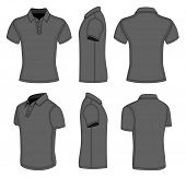 All views men's black short sleeve polo shirt design templates (front, back, half-turned and side vi