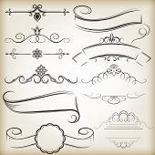 Vintage calligraphic vector design elements isolated on beige background. Set 7.