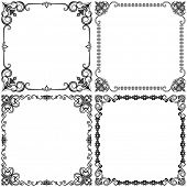 Black and white vintage vector frames design isolated on white background.