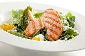 stock photo of caesar salad  - Caesar Salad with BBQ Salmon - JPG