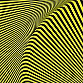 Abstract black and yellow textured background. Op art design. Vector art.