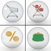 set of different objects for shopping for discounts at the store in transparent balls