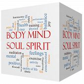 stock photo of spirit  - Body Mind Soul Spirit 3D cube Word Cloud Concept with great terms such as harmony life sleep fit and more - JPG