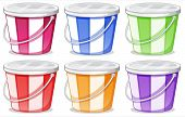 Illustration of the six colorful pails on a white background